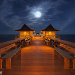 Full Moon and Jupiter setting over Naples Pier by Justin Kelefas 2016 HDRcustoms 1200